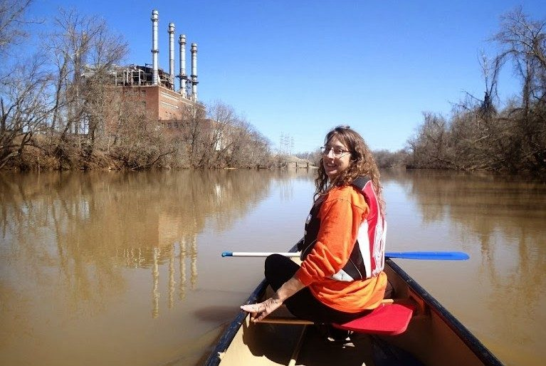Photograph of Maddy Schreiber  in canoe on Dan River