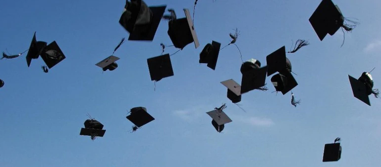 Caps in the air at commencement